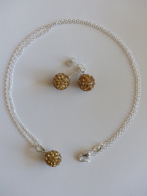 1 Luxus Shamballa-Set Gold 4-teilig